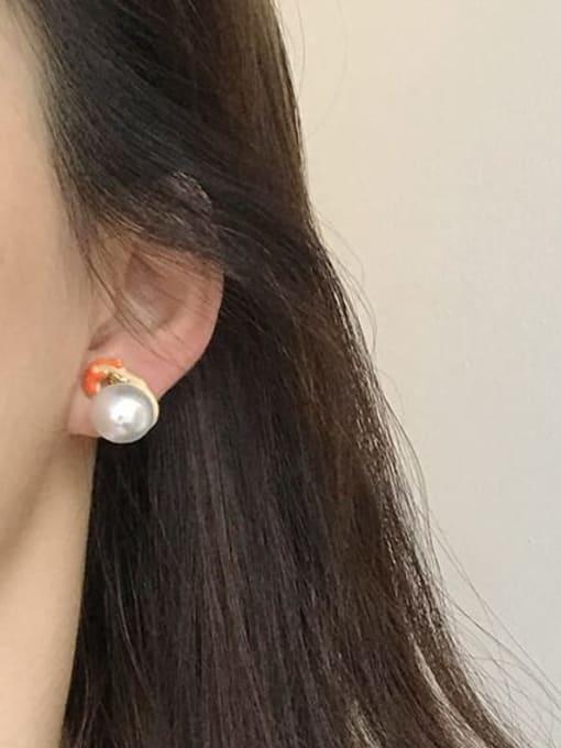 Five Color Alloy Enamel Irregular Cute gymnastics villain asymmetrical pearl  Stud Earring 1