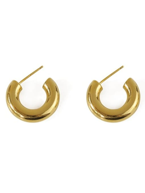 golden Brass Irregular Minimalist Stud Earring