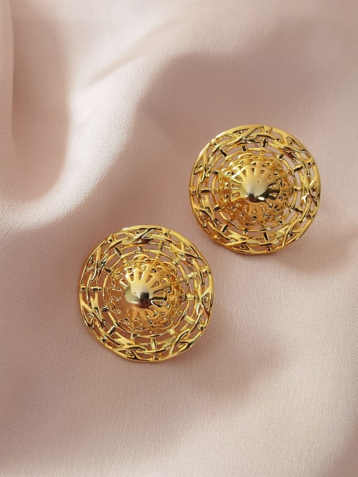 HYACINTH Brass Hollow Round Vintage Stud Earring 2