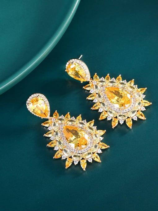 yellow Brass Cubic Zirconia Flower Luxury Drop Earring