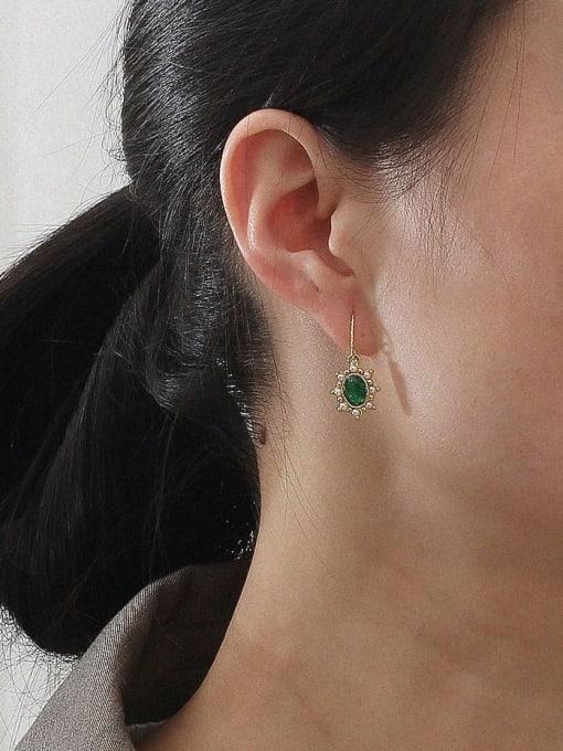 HYACINTH Brass Imitation Pearl Geometric Vintage Hook Earring 1