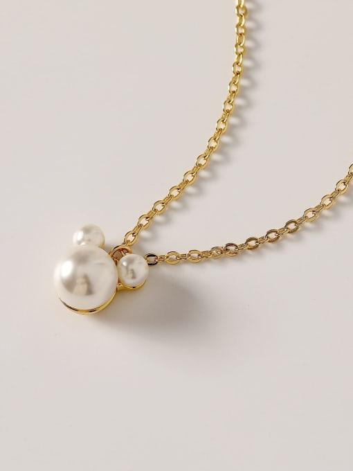 HYACINTH Brass Imitation Pearl Geometric Minimalist Necklace