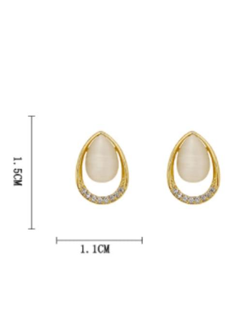 HYACINTH Brass Cats Eye Water Drop Minimalist Stud Earring 3