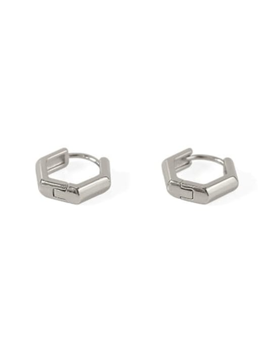 hexagon Brass Smooth Geometric Minimalist Huggie Earring