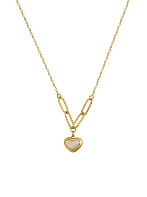 HYACINTH Brass Shell Heart Minimalist  Pendant Necklace 0