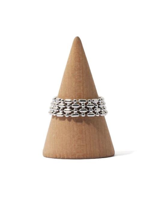TINGS Brass  Hip Hop Retro geometric chain Band Ring 0