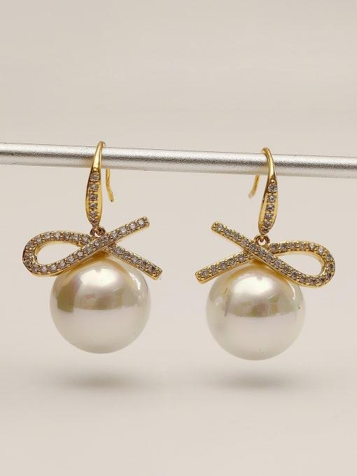 HYACINTH Brass Imitation Pearl Geometric Minimalist Hook Earring 2
