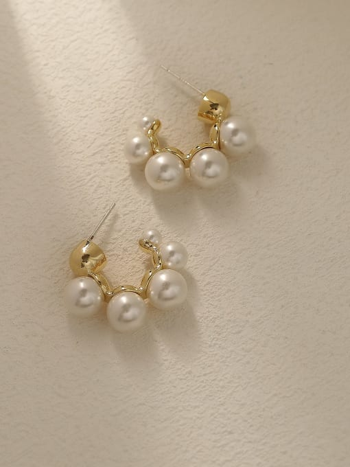 14k Gold Brass Imitation Pearl Geometric Minimalist Stud Trend Korean Fashion Earring