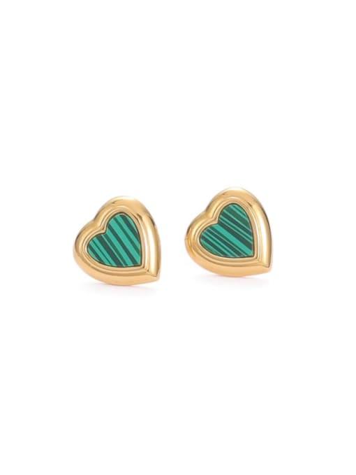 Five Color Brass Enamel Heart Minimalist Stud Earring 0