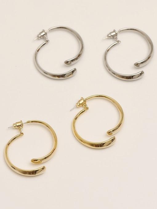 HYACINTH Brass Smooth Geometric Minimalist Drop Earring 1