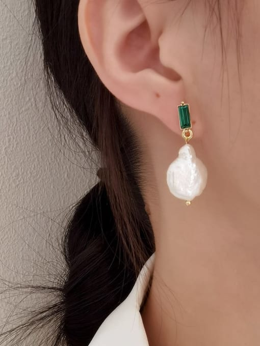 HYACINTH Brass Freshwater Pearl Geometric Minimalist Drop Earring 1