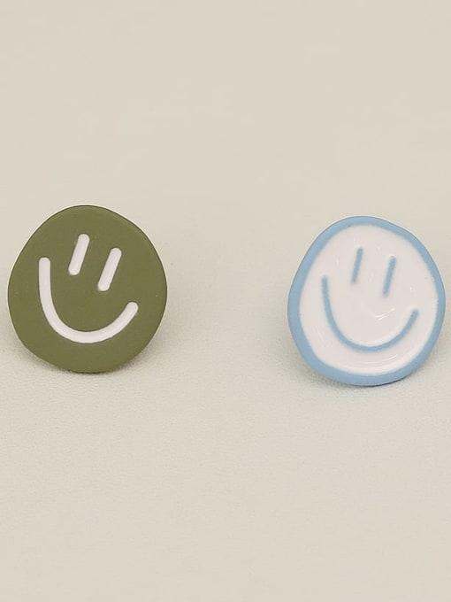 Smiley face stud Copper Enamel Smiley Minimalist Stud Earring