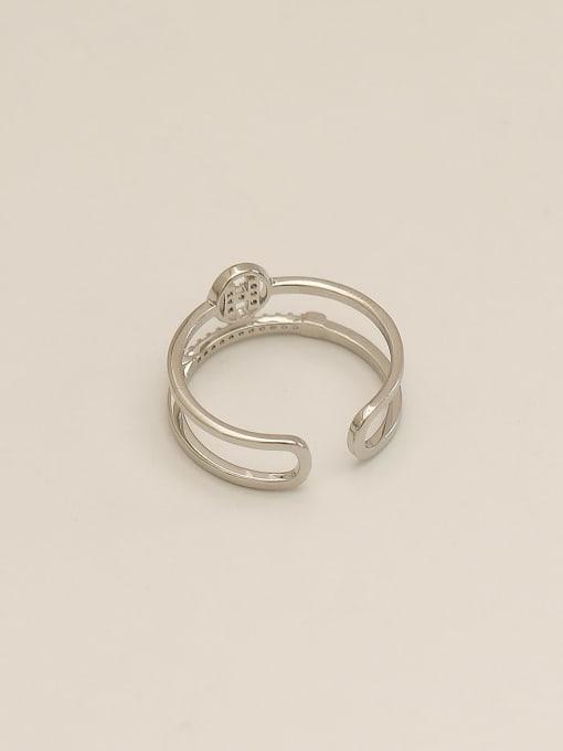 HYACINTH Brass Cubic Zirconia Geometric Vintage Band Ring 2