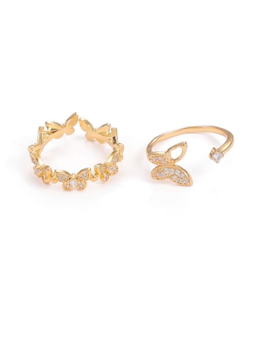 Five Color Brass Cubic Zirconia Butterfly Minimalist Band Ring