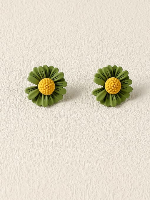 Dark green Brass Enamel Flower Cute Stud Earring