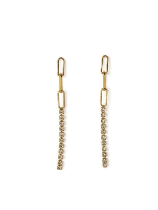 golden Brass Cubic Zirconia Tassel Minimalist Threader Earring
