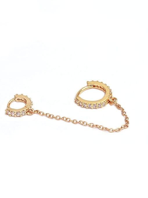 HISON Brass Cubic Zirconia Tassel Minimalist Huggie Earring(Single) 1