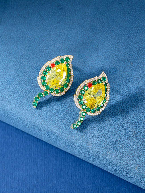 OUOU Brass Cubic Zirconia Heart Luxury Stud Earring 2