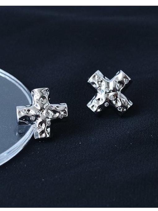 TINGS Brass Cross Minimalist Stud Earring 1