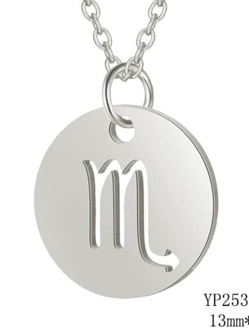 Scorpio steel Titanium Steel Constellation Minimalist  Round Pendant Necklace