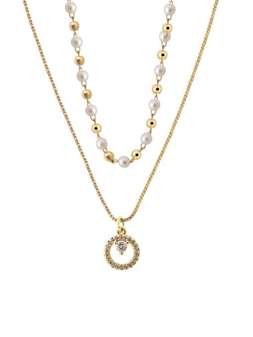 HYACINTH Brass Imitation Pearl Geometric Minimalist Multi Strand Necklace