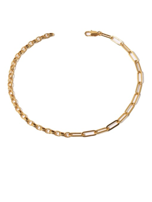 Stitching Necklace Brass Hollow Geometric Chain Hip Hop Necklace