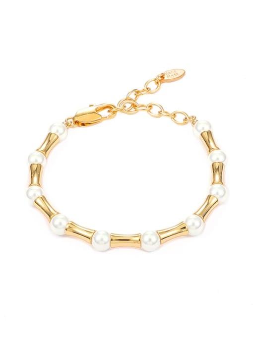 Five Color Brass Imitation Pearl Geometric Minimalist Beaded Bracelet 4