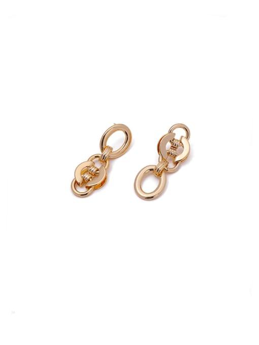 golden Brass Geometric Hip Hop Drop Earring