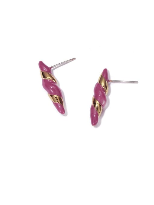 ACCA Brass Enamel Geometric Vintage Stud Earring 0
