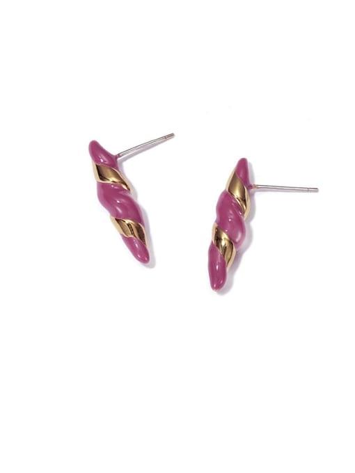 ACCA Brass Enamel Geometric Vintage Stud Earring