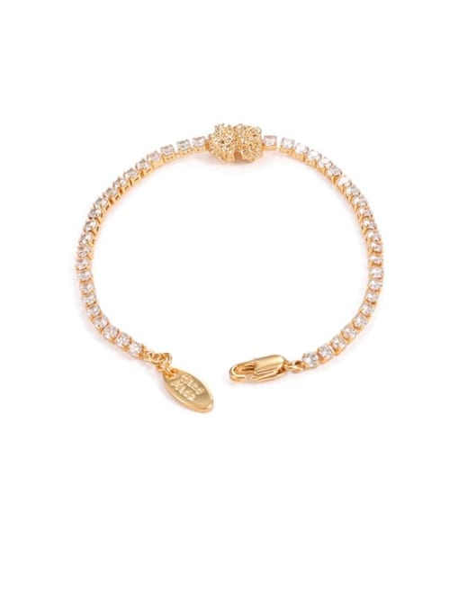 Five Color Brass Cubic Zirconia Geometric Hip Hop Link Bracelet