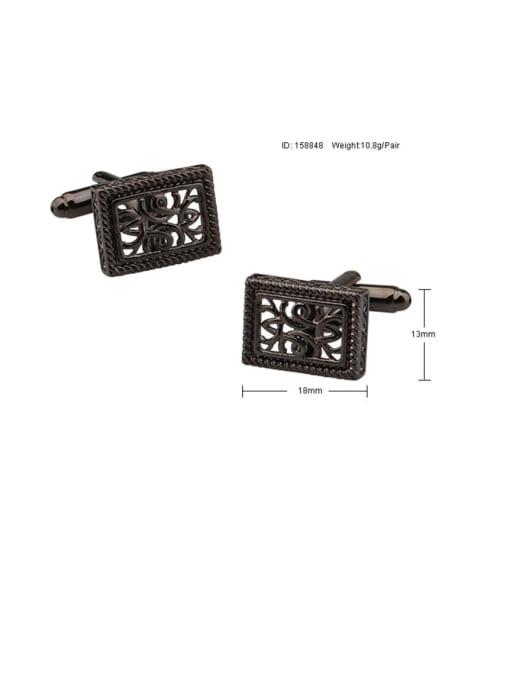 ThreeLink Brass Hollow Rectangle Vintage Cuff Link 2