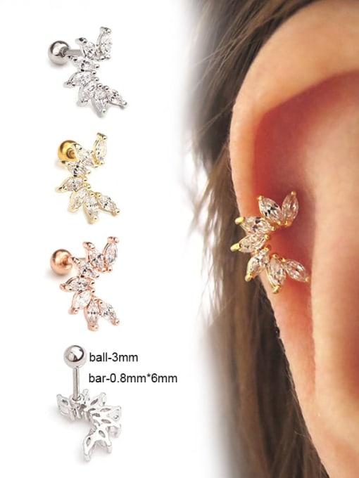 HISON Brass+Titanium Steel Cubic Zirconia Leaf Cute Stud Earring 1