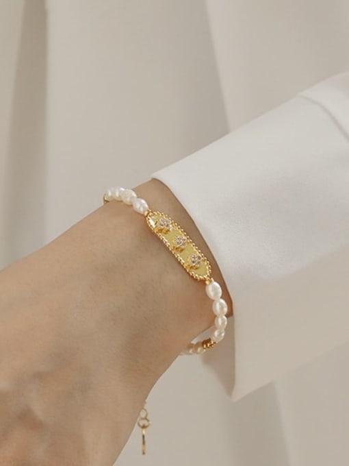 ACCA Brass Freshwater Pearl Flower Vintage Bracelet 0