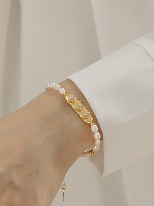 ACCA Brass Freshwater Pearl Flower Vintage Bracelet