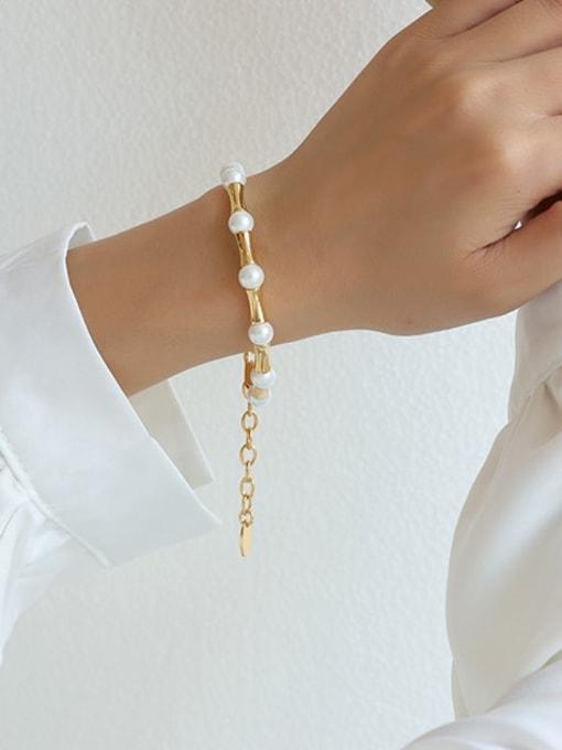 Five Color Brass Imitation Pearl Geometric Minimalist Beaded Bracelet 1