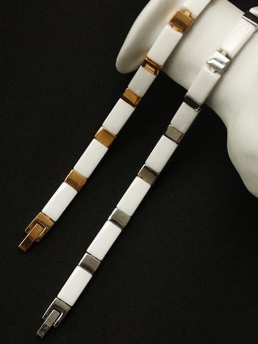 ACCA Brass Ceramic Geometric Vintage Link Bracelet 2