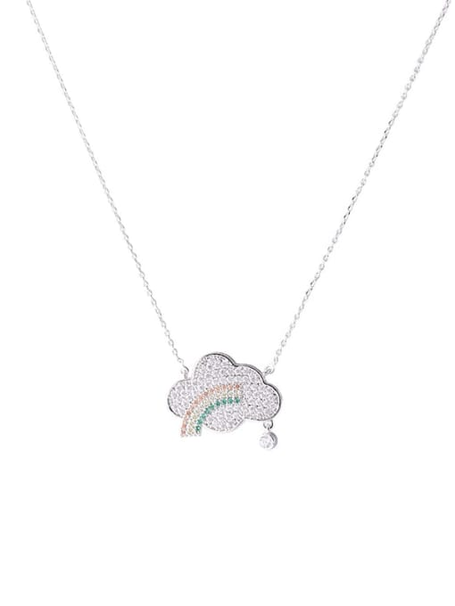 YILLIN Brass Cubic Zirconia Cloud Minimalist Necklace