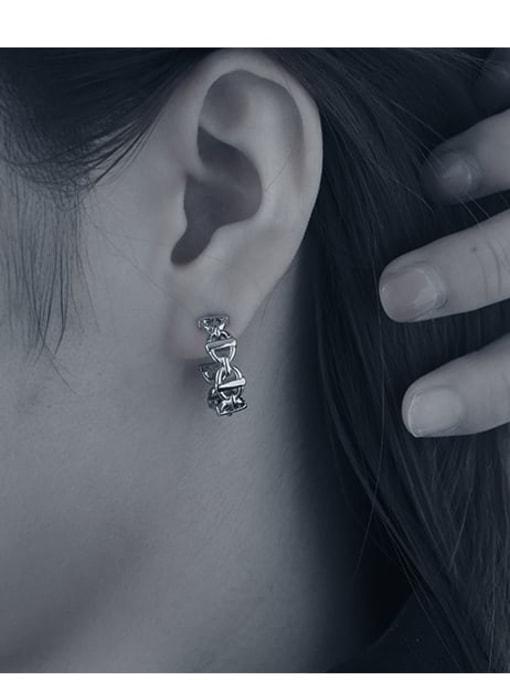 TINGS Brass  Hollow Geometric Vintage Stud Earring 2