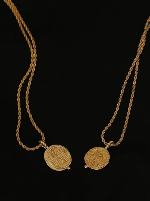 ACCA Brass Vintage  Vintage embossed coin round card Necklace 2