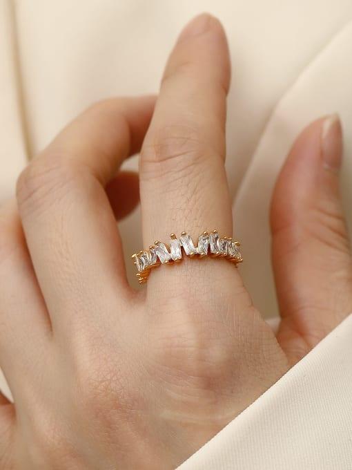 HYACINTH Brass Cubic Zirconia Geometric Vintage Band Ring 3