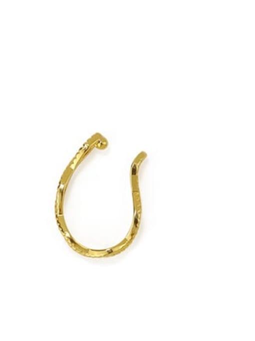 Gold (single) Brass Hollow Geometric Minimalist Clip Earring (Single)