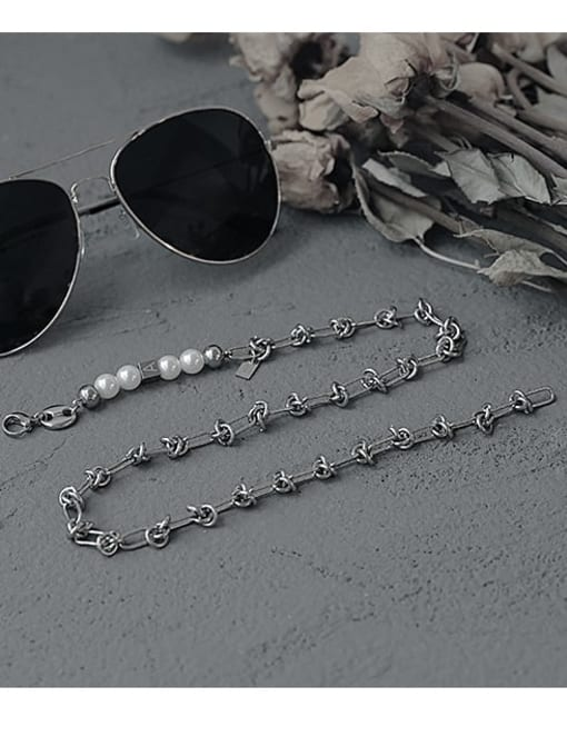 TINGS Brass Imitation Pearl Letter Vintage Necklace 1