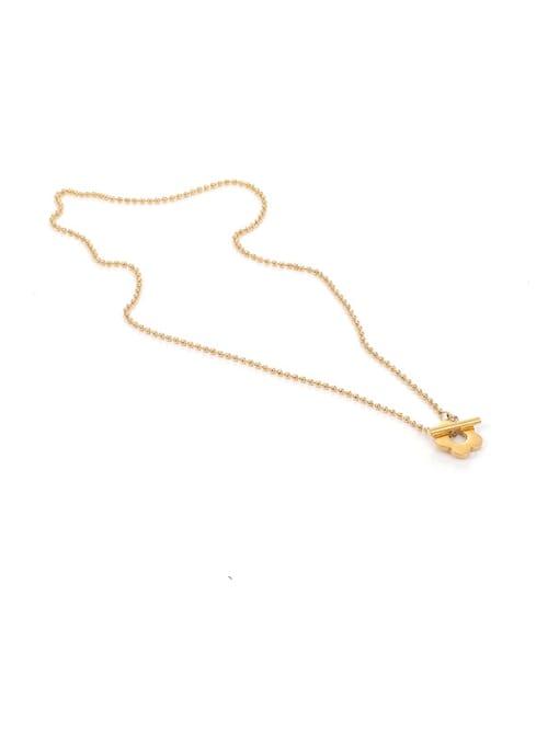 Flower Necklace Titanium Steel Flower Minimalist Beaded Necklace
