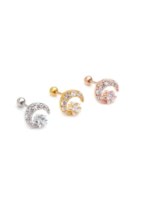 HISON Brass Cubic Zirconia Star Minimalist Stud Earring 4