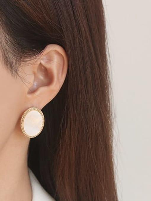 ACCA Brass Shell Geometric Vintage Stud Earring 1