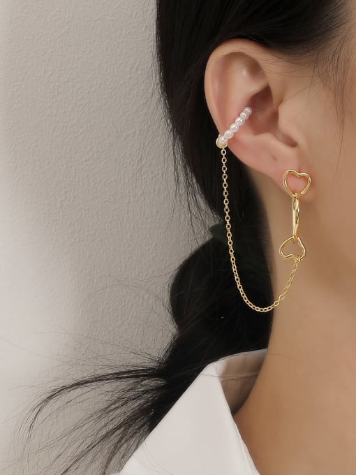 HYACINTH Brass Imitation Pearl Heart Minimalist Single Earring 1