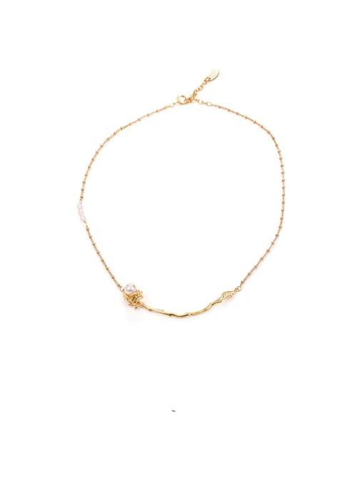 Flower Necklace Brass Imitation Pearl Flower Hip Hop Necklace