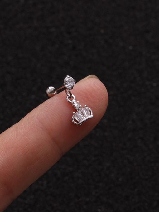 platinum 1 #(Single) Brass Cubic Zirconia Geometric Cute Stud Earring