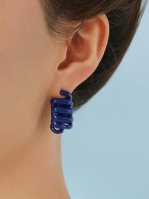 Five Color Brass Enamel Irregular Minimalist Stud Earring 1